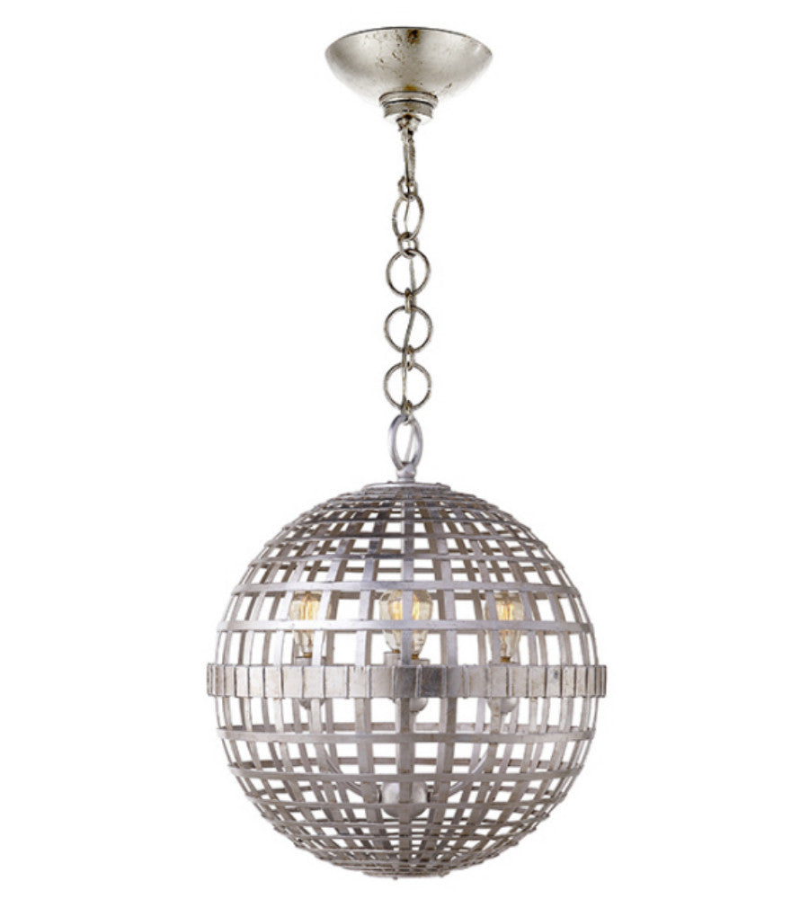 Visual Comfort Small Mill Ceiling Light in Burnished Silver Leaf designed by Aerin ARN5003BSL