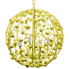 Celeste Sphere Chandelier in Chartreuse, by Stray Dog Designs, SD-13celestesphere-Stray Dog White