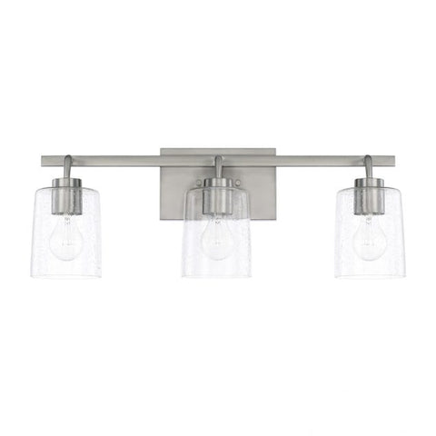 Greyson 3 Light Vanity in Brushed Nickel with Clear Seeded Glass Shades by Capital Lighting 128531BN-449
