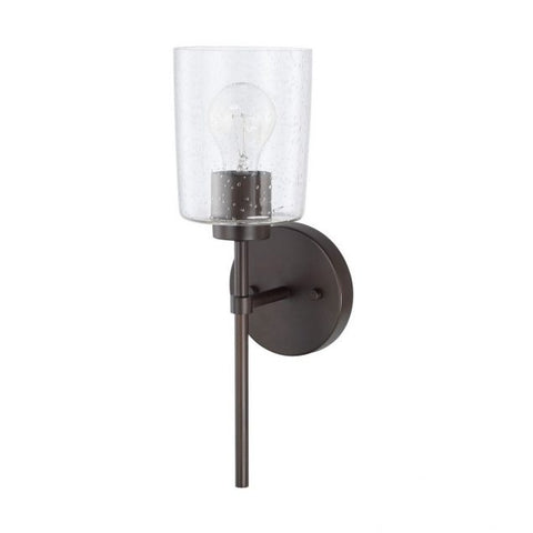 Greyson 1 Light Sconce in Bronze with Clear Seeded Glass Shade by Capital Lighting 628511BZ-449