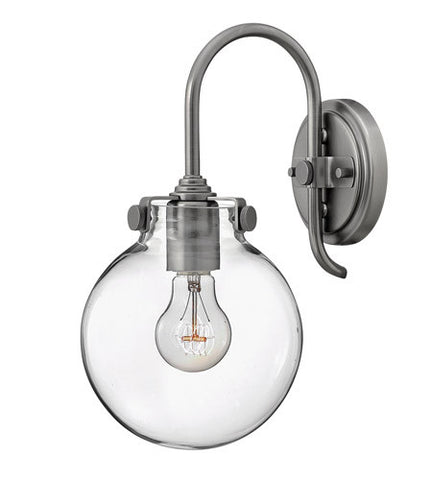 Congress 1 Light Globe Vanity in Antique Nickel with Clear Glass Shades by Hinkley Lighting 3174AN