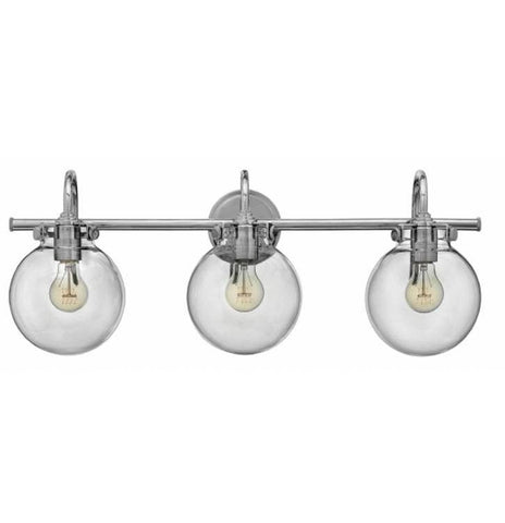 Congress 3 Light Globe Vanity in Chrome with Clear Glass Globes by Hinkley Lighting 50034CM