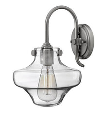 Congress 1 Light Vanity in Antique Nickel with Clear Glass Shades by Hinkley Lighting 3171AN