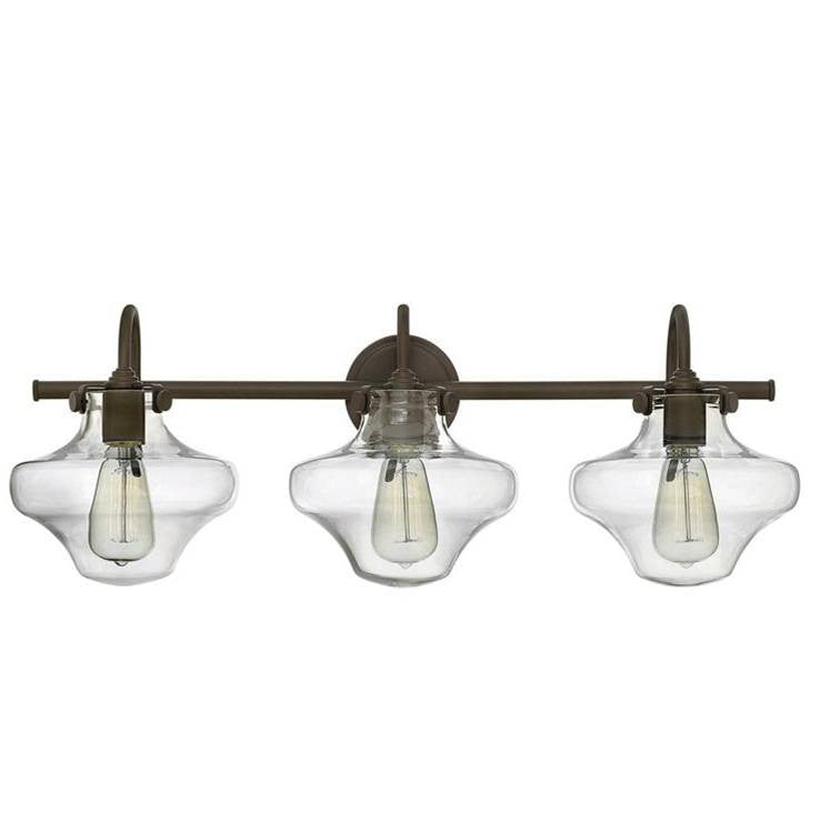 Congress 3 Light Hurricane Vanity in Oil Rubbed Bronze with Clear Glass Shades by Hinkley Lighting 50031OZ