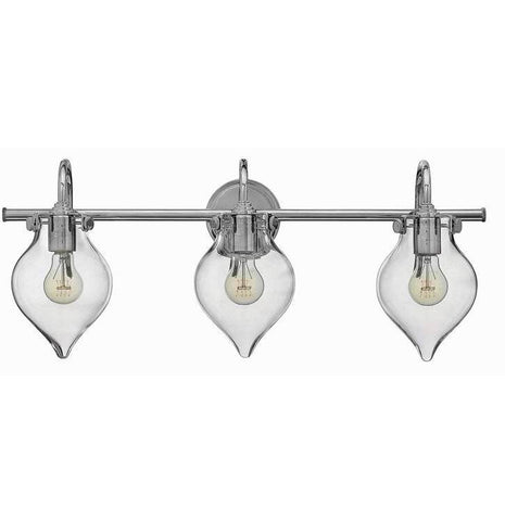 Congress 3 Light Teardrop Vanity in Chrome with Clear Glass Shades by Hinkley Lighting 50037CM