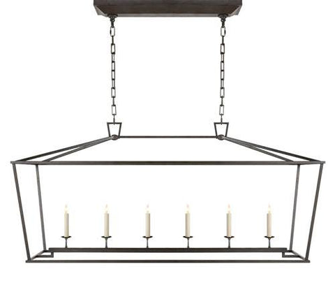 Darlana 6 Light Linear Pendant in Aged Iron by Visual Comfort CHC2166AI