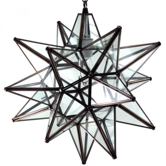 "16"" Moravian Clear Glass and Bronze Starlight 13CG-B"