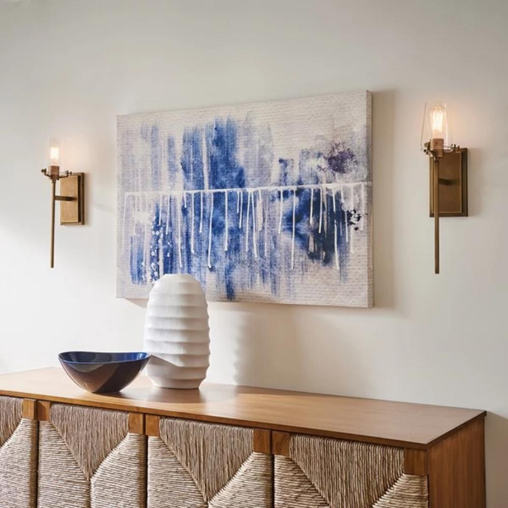 Lifestyle Shot of Alton Sconce, 1-Light Wall Sconce, Natural Brass, Clear Seeded Glass