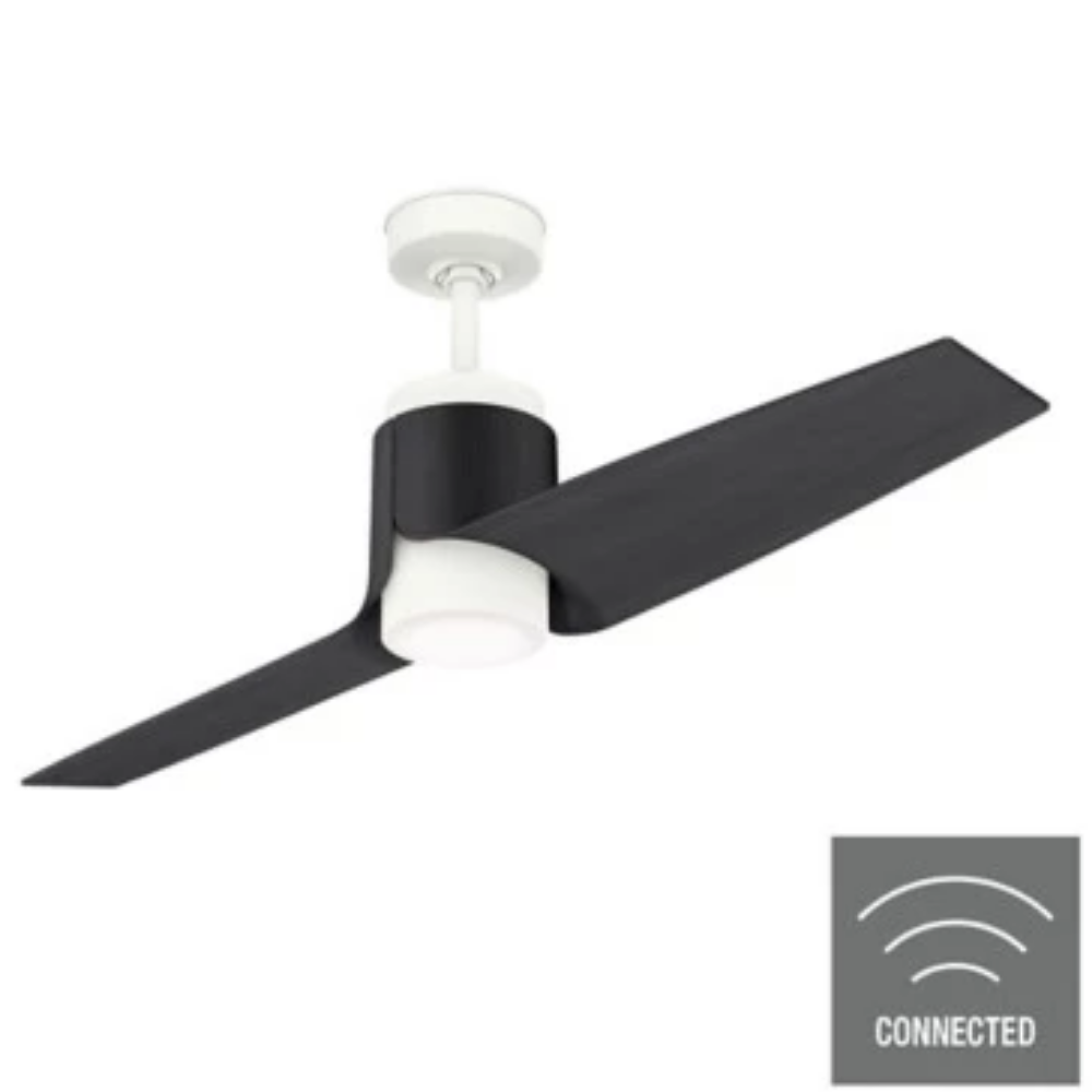 Casablanca Fan, 2 Blade Smart Ceiling Fan, Porcelain White, Black