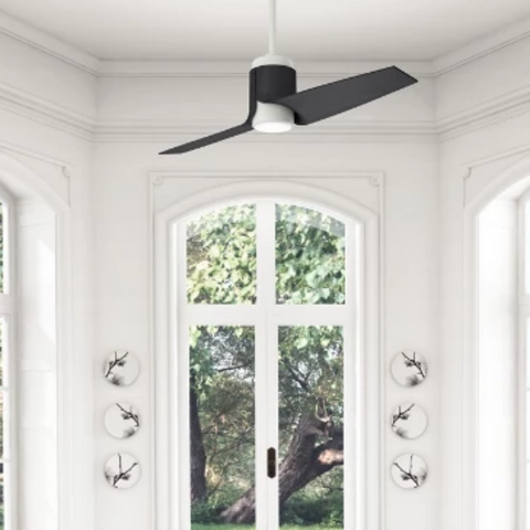 Lifestyle Shot of Casablanca Fan, 2 Blade Smart Ceiling Fan, Porcelain White, Black