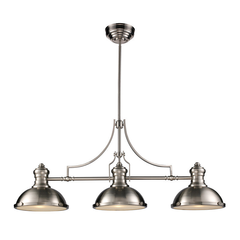 Chadwick 3 Light Linear Chandelier in Satin Nickel by Elk Lighting 66125-3