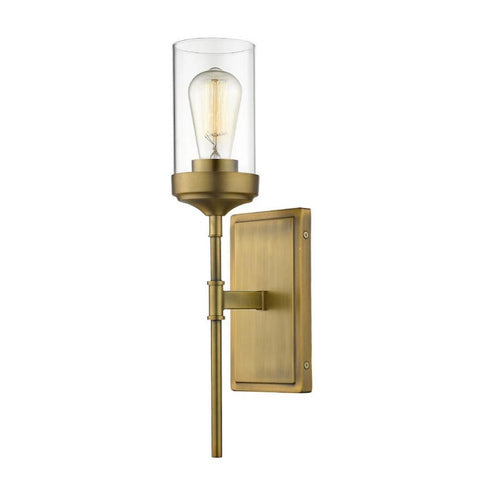 Calliope Sconce, 1-Light Wall Sconce, Foundry Brass, Clear Glass