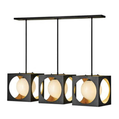 Vega 3-Light Linear Chandelier, Chandelier, Anvil Black with Gilded Gold accents