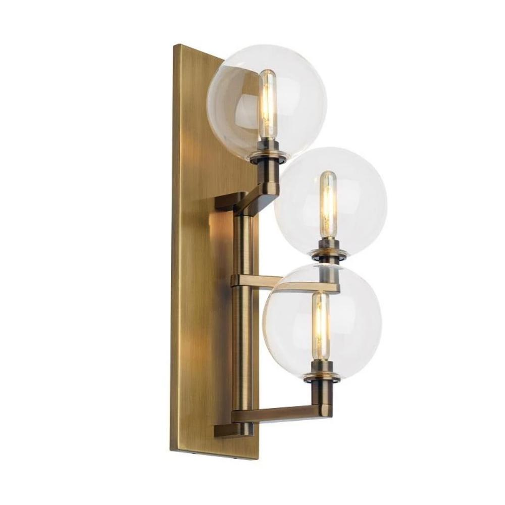 Gambit Sconce, 3-Light Wall Sconce, Aged Brass
