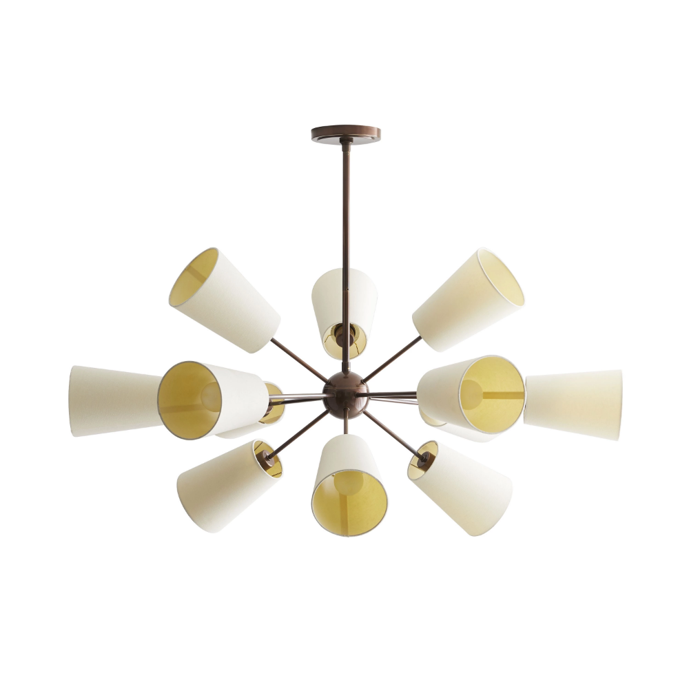 Amsterdam Chandelier, 12-Light Chandelier, Heritage Brass, White Linen Shade