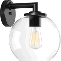 1-Light Glass Globe Lantern, Black, Clear Glass