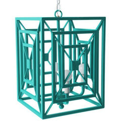 Jay Chandelier in Bahama Sea finish, by Stray Dog Designs, 13jay-Bahaman Sea Blue