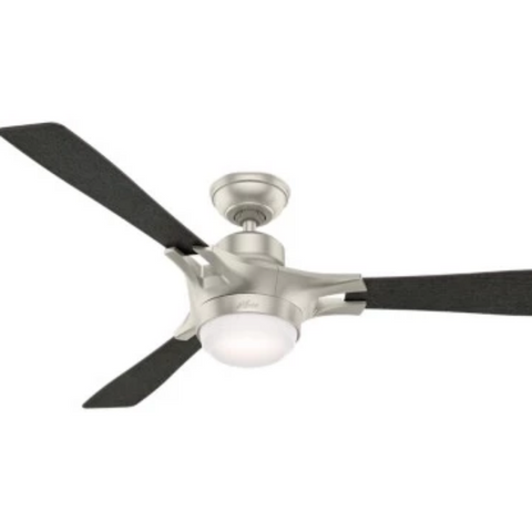 Signal Smart Fan, 3-Blade Ceiling Fan, Matte Nickel, Aged Oak/Reclaimed Walnut Reversible Blades