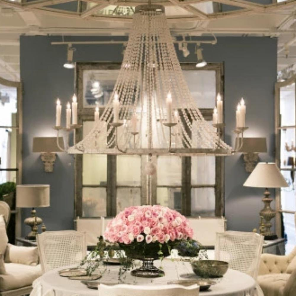 Lifestyle Shot of Naples Chandelier, 12-Light Beaded Chandelier, Distressed Gray