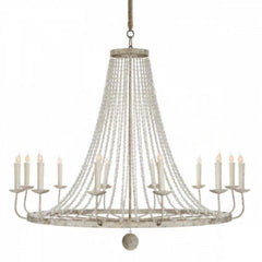 Naples Chandelier, 12-Light Beaded Chandelier, Distressed Gray