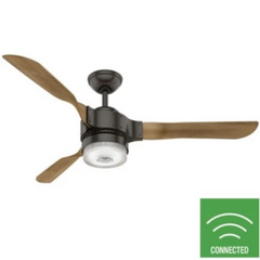 Apache Ceiling Fan, 3-Blade Smart Fan, Noble Bronze, White Washed Oak