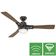 Signal Smart Fan, 3-Blade Ceiling Fan, Noble Bronze, Aged Oak/Reclaimed Walnut Reversible Blades