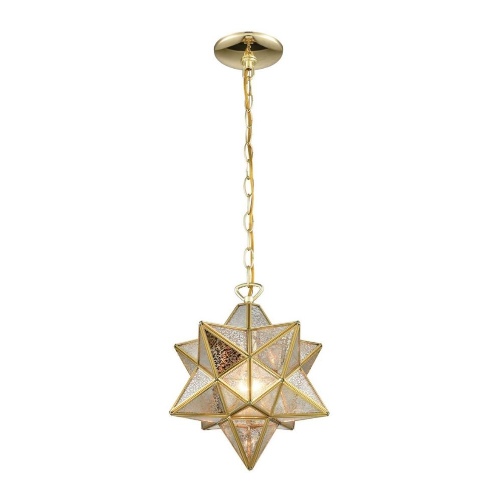 Moravian Star 1-light Pendant, Pendant, Gold Mercury Glass