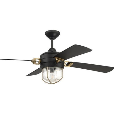"Nola Ceiling Fan, 52"" Fan, Flat Black, Satin Brass"