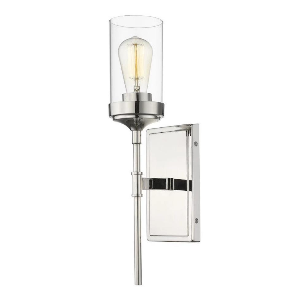 Calliope Sconce, 1-Light Wall Sconce, Polished Nickel, Clear Glass