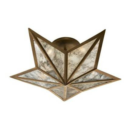 Visual Comfort Constellation Small Flush Mount in Hand-Rubbed Antiqu Brass with Antique Mirror SE4100HAB