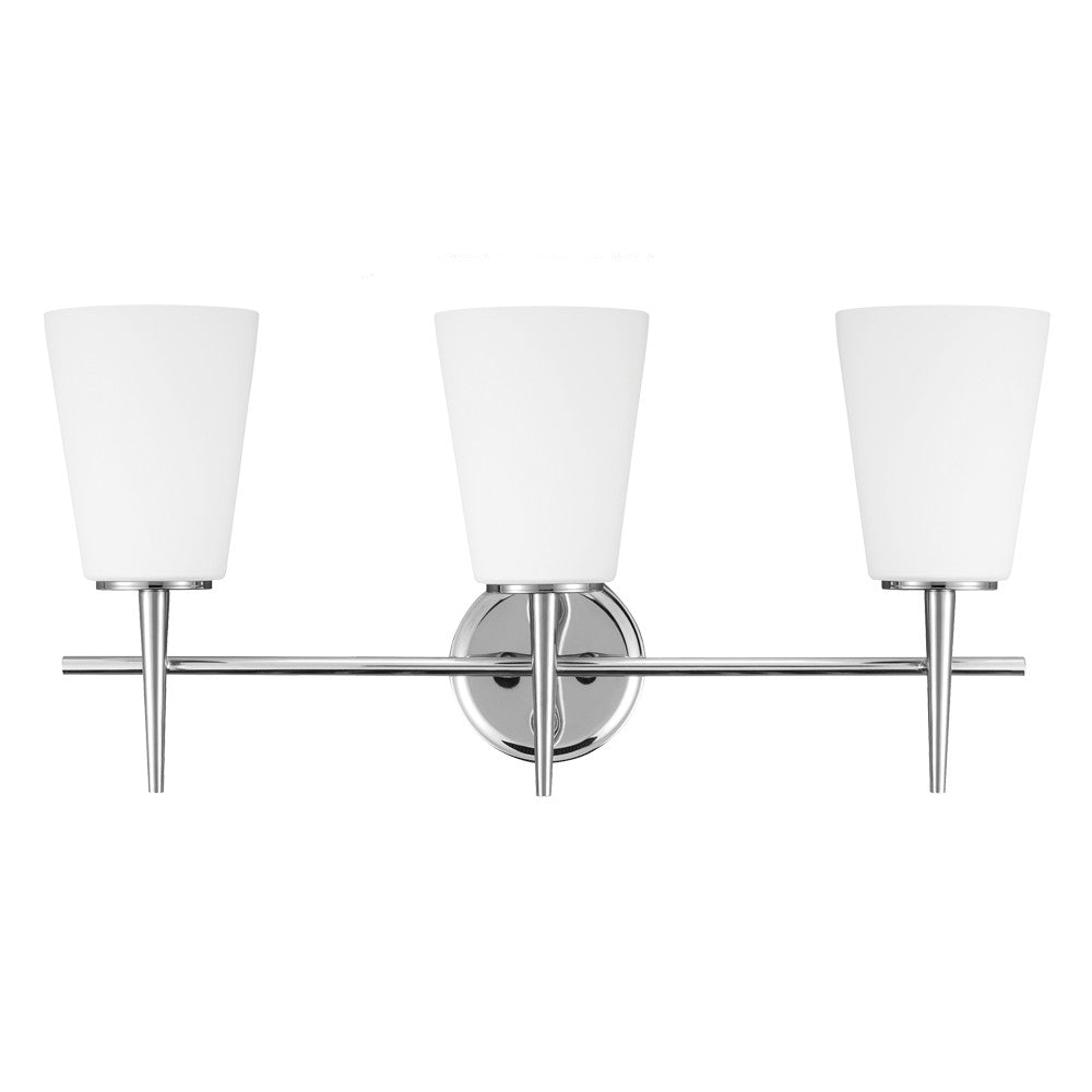3 Light Driscoll Bath Light in Chrome, by Seagull Lighting, 4440403-05