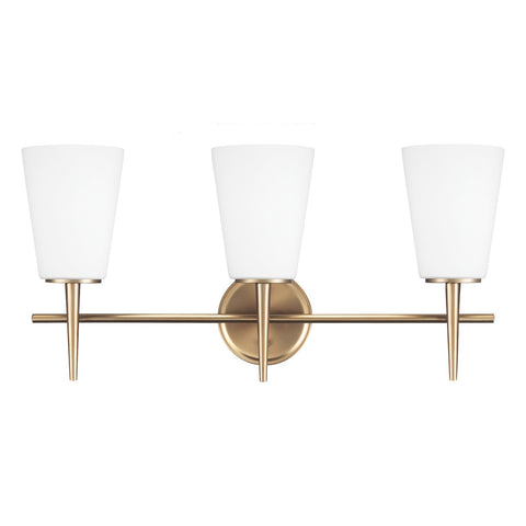 3 Light Driscoll Bath Light in Satin Bronze, by Seagull Lighting, 4440403-848