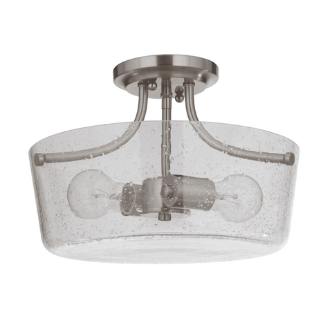 Sutton Semi-Flush Mount, Mount. Brushed Nickel