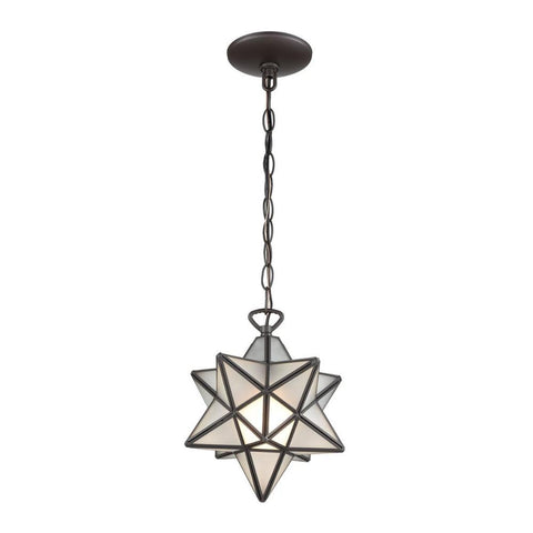 Moravian Star 1-Light Pendant, Pendant, Bronze, Frosted Glass