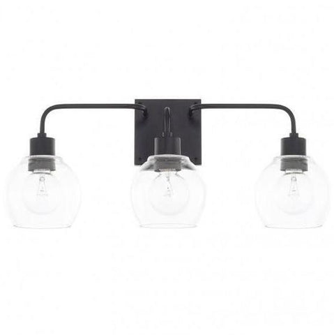 Tanner 3 Light Vanity in Matte Black with Clear Glass Shades by Capital Lighting 120031MB-426