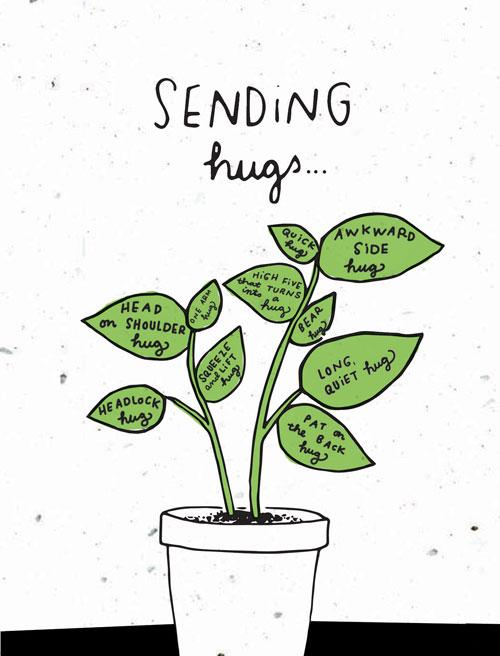 """photo of plant on a card that says, """"sending hugs."""""""