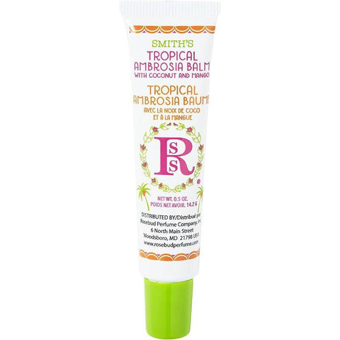 Rosebud tropical ambrosia lip balm for dry lips after chemotherapy