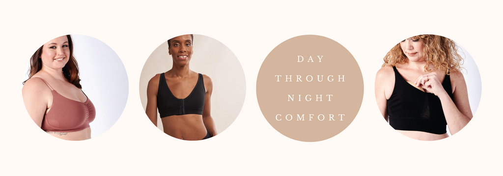 """three images of women in bras with text """"day through night comfort"""""""