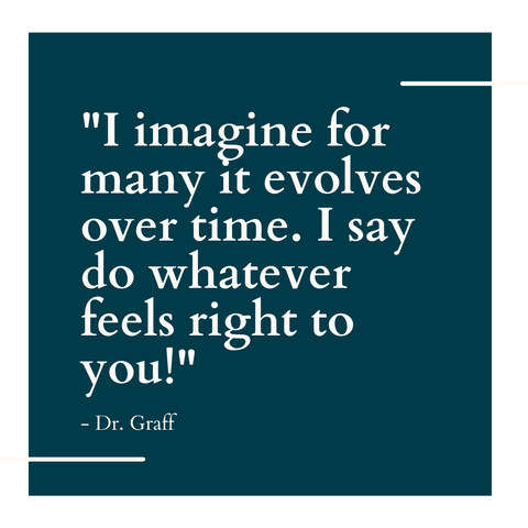 """""""I imagine for many it evolves over time,"""" said Dr. Graff. """"I say do whatever feels right to you!"""""""