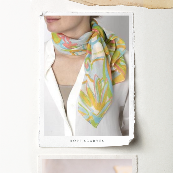 Hope Scarves on woman's neck