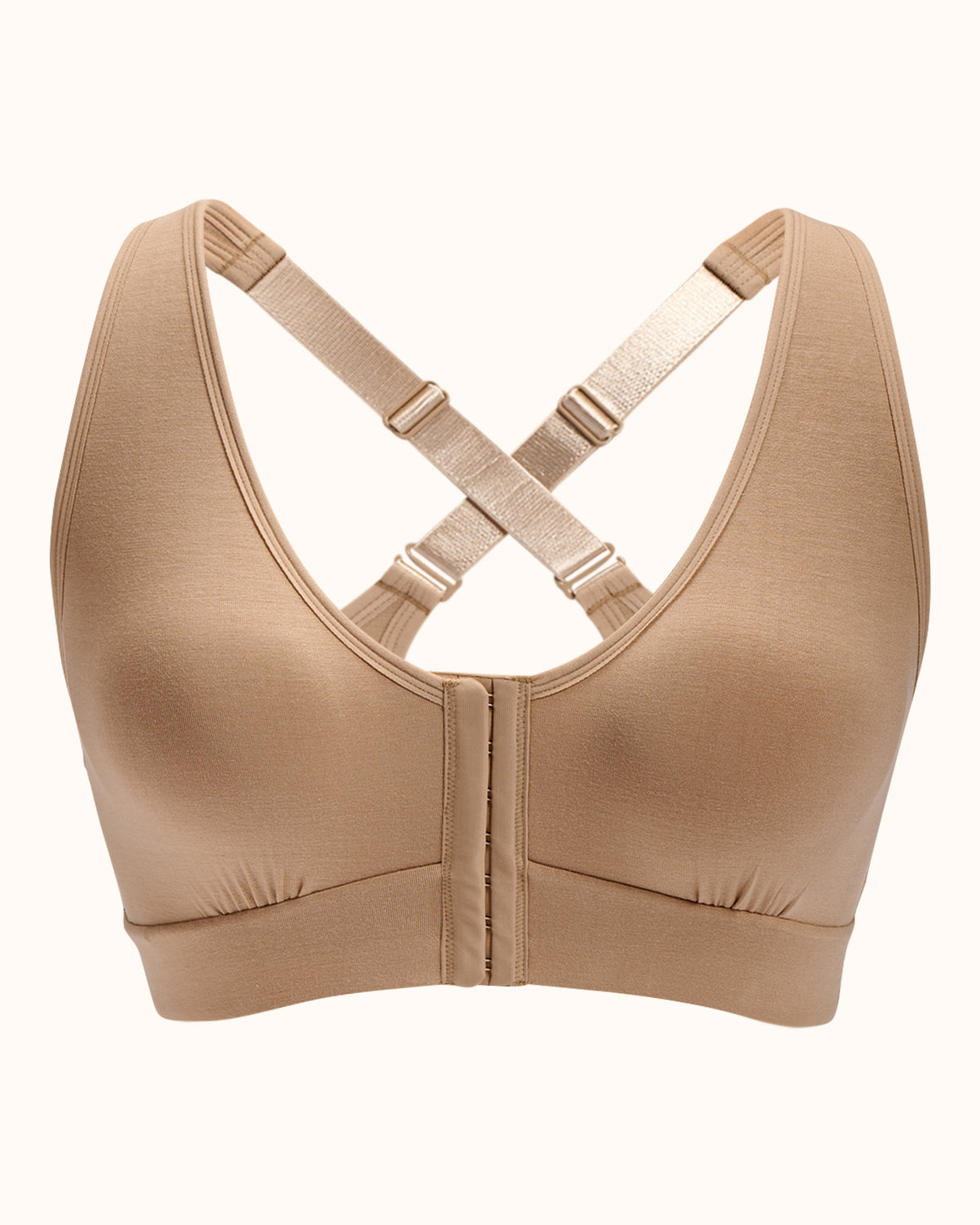 Sand, pocketed front closure wireless bra with soft modal material and convertible & adjustable straps.