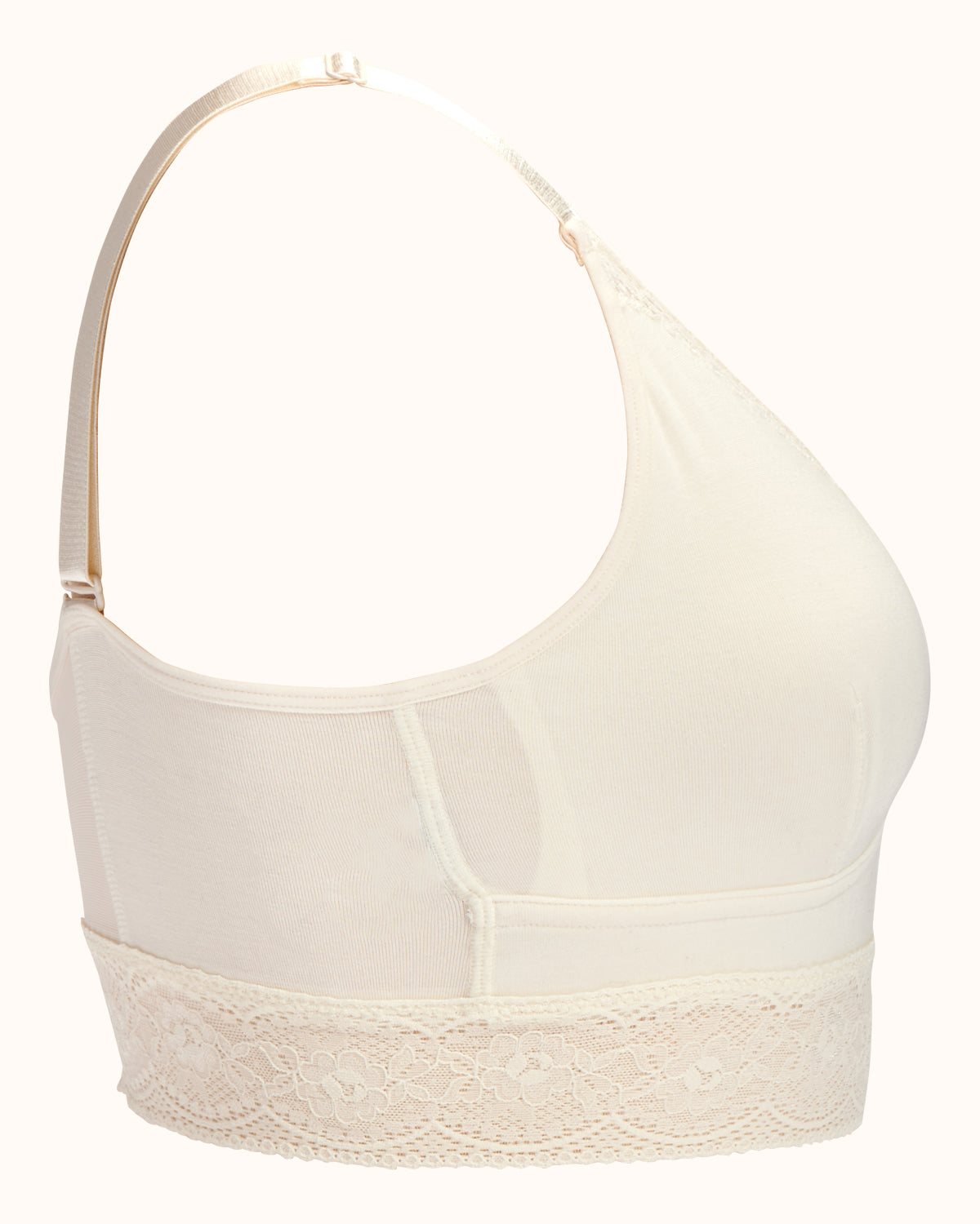 Ivory, longline pullover bra with a lace trim, soft cups, mesh back, adjustable & convertible straps.