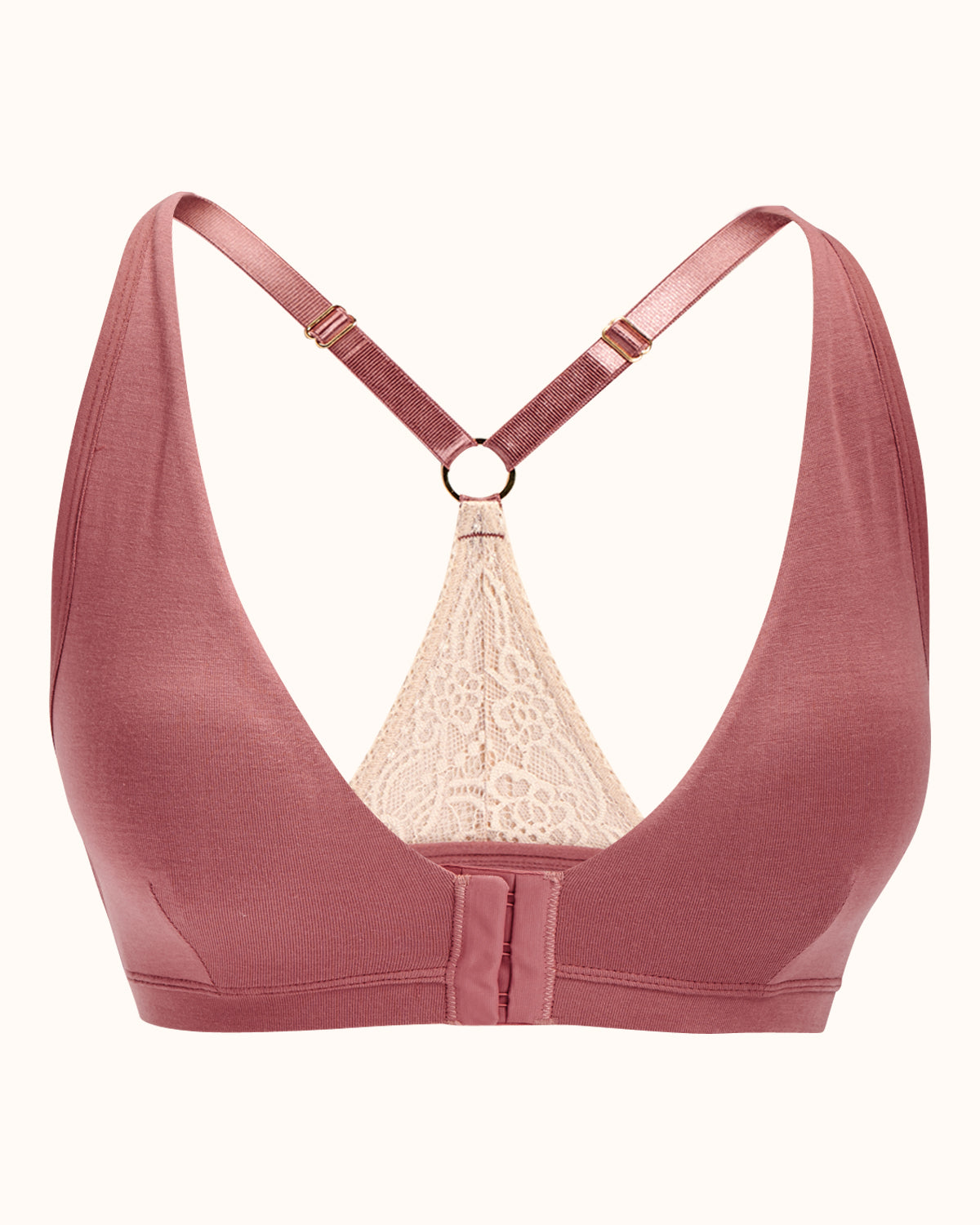 Dusty rose, pocketed front closure lace racerback bra with a plunging neckline and soft wire free cups.