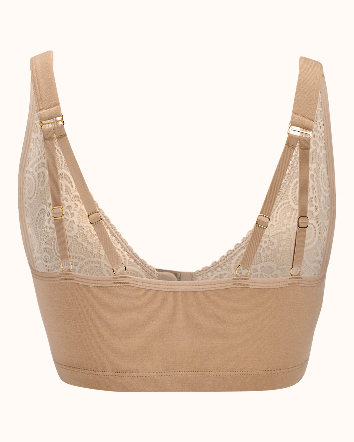 Champagne, pocketed front closure lace bra made with soft modal, dual adjustable back straps and underwire free cups.