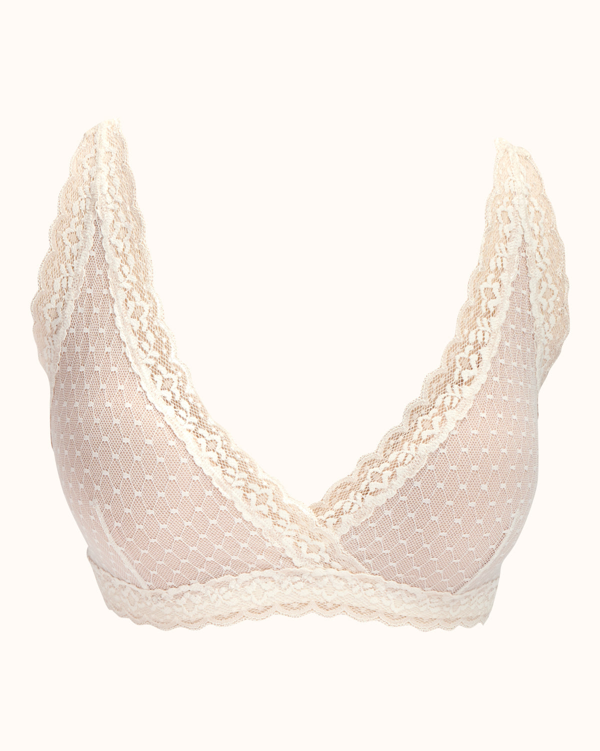 Ivory, pocketed wrap front lace bralette with wireless cups, back closure and adjustable straps.