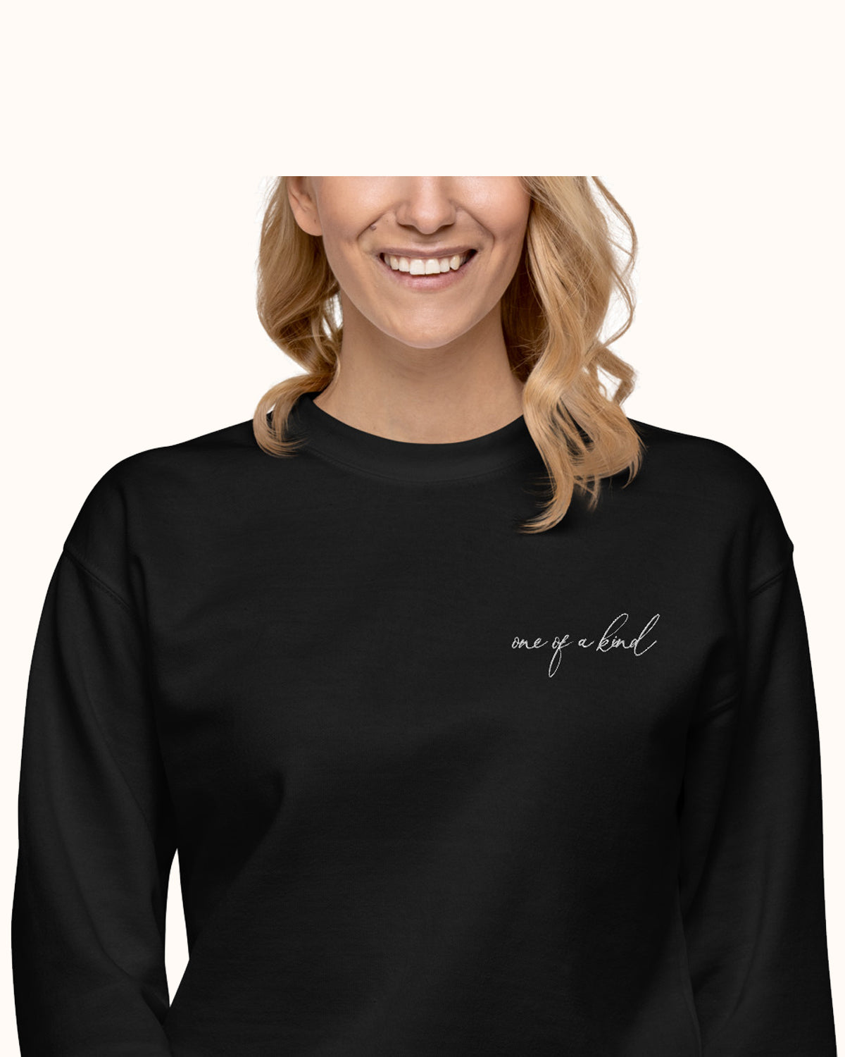 Black, One of a Kind design pullover sweatshirt with fleece lining.