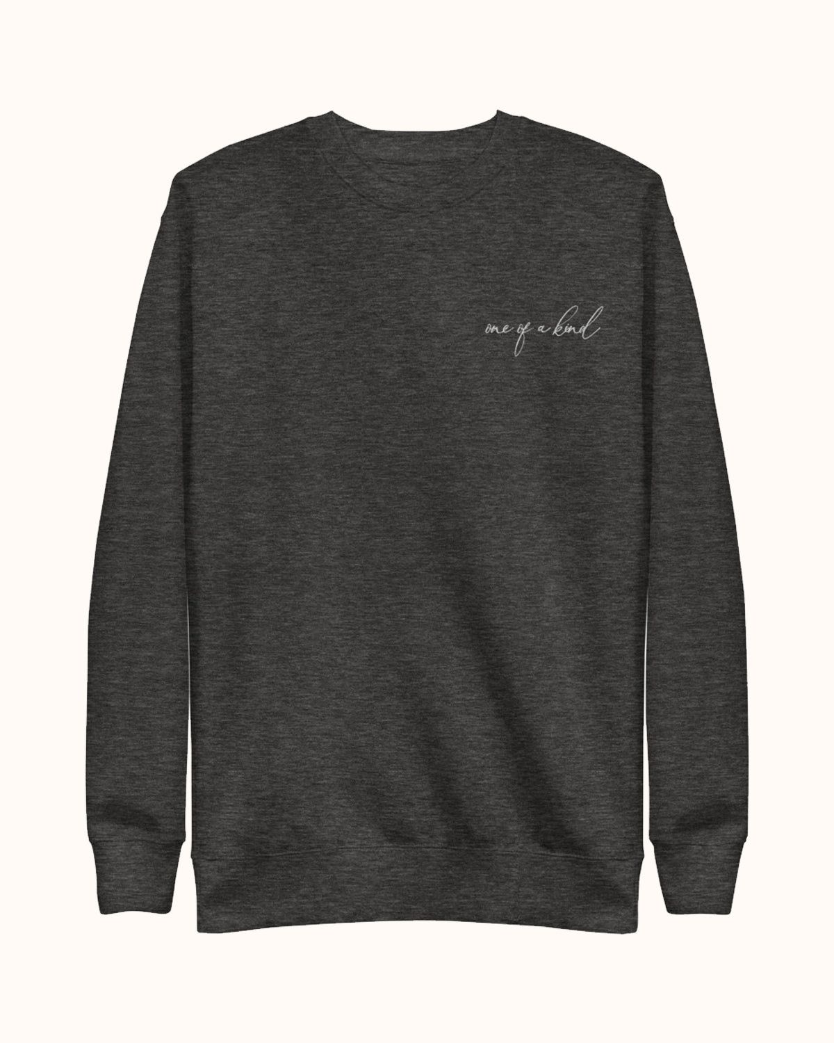 Dark grey, One of a Kind design pullover sweatshirt with fleece lining.