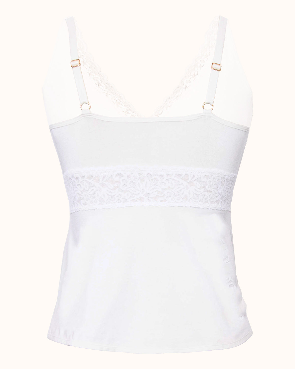Ivory, pocketed camisole with wireless cups, wrap front design, lace v neck and adjustable straps.