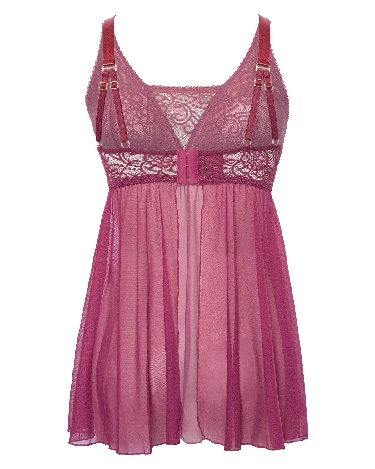 Wine, pocketed soft stretch lace and flowy mesh babydoll dress with back closure, adjustable straps and open back.