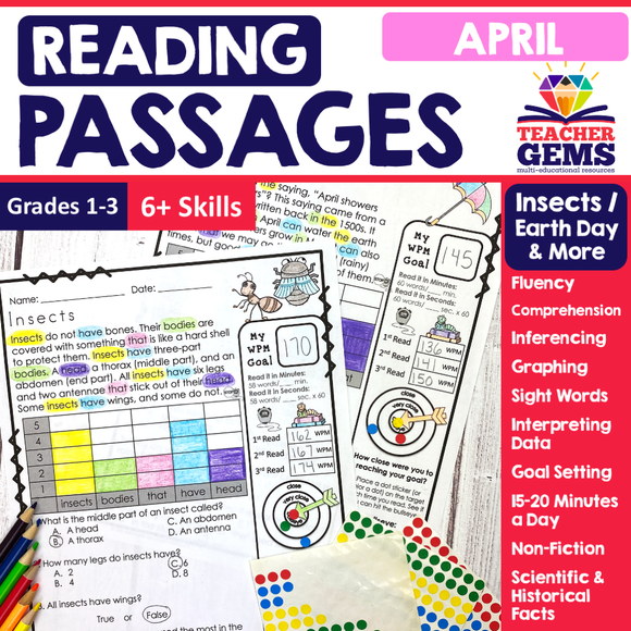 April Reading Passages - Insects, Earth Day, April Showers